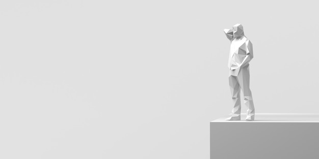 Человек перед пропастью. проблемы. решения. 3d иллюстрации. баннер. фон.