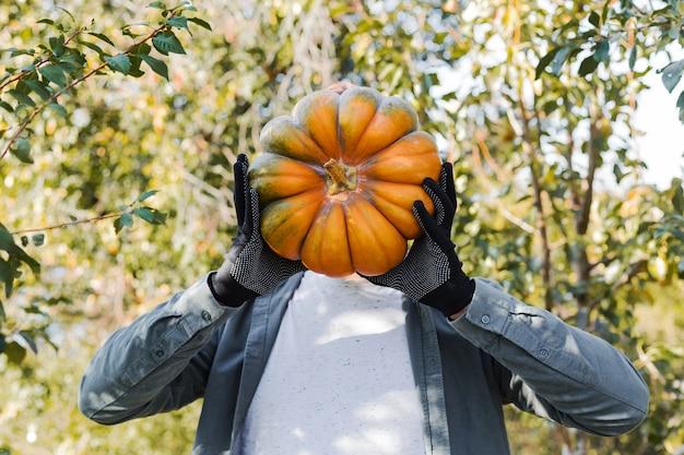 Glovs에서 남자는 야외 머리 대신 노란색 재미있는 호박을 보유합니다. 호박 가을 수확.