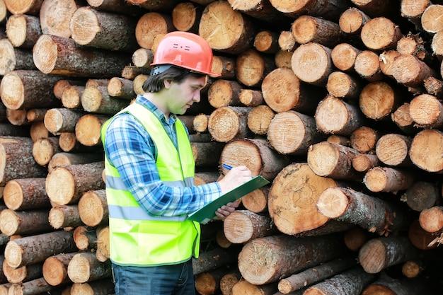 헬멧 작업자 나무 재목에 남자
