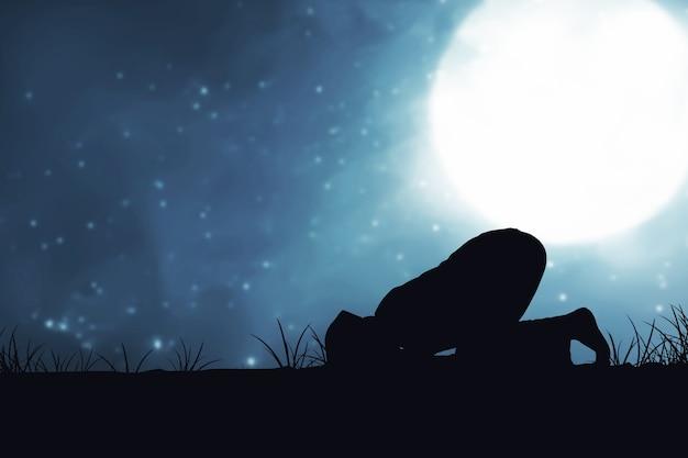 夜のシーンの背景と祈りの位置に男