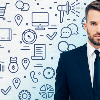 Человек в костюме с бизнес-концепцией
