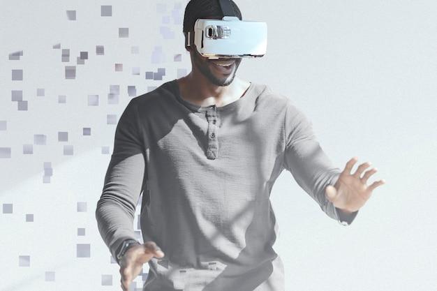 Человек в гарнитуре vr в стиле дисперсии пикселей