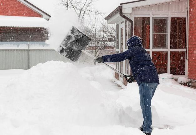뒤뜰에서 눈보라 동안 눈을 삽질하는 겨울 옷을 입은 남자 겨울 날씨 동작 흐림 효과