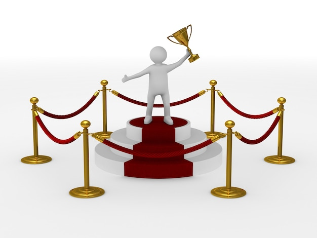 Man into barrier rope on white space. isolated 3d illustration