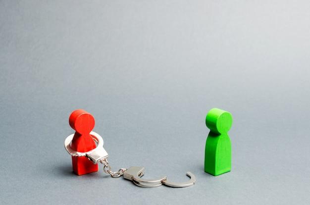 A man is bound by handcuffs