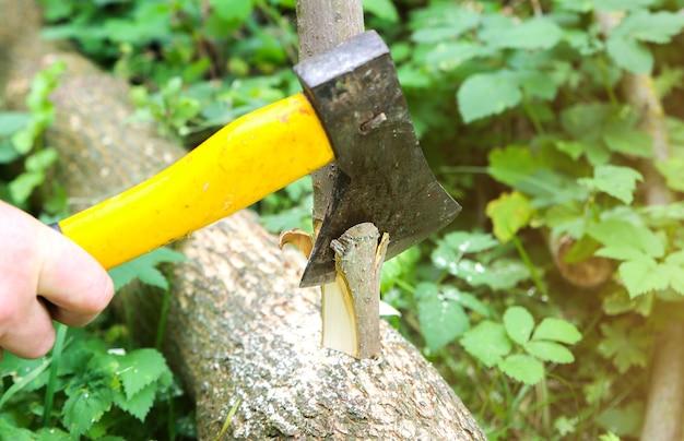 男は屋外で丸太を切っています。村の木材で動作します。