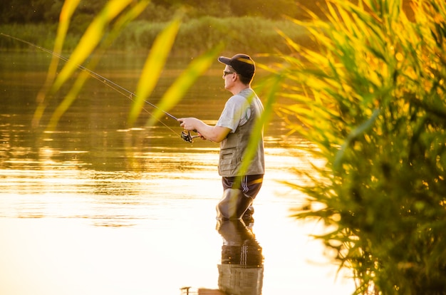 The man is fishing.