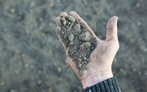 Man is holding very dry soil in his palm. concept of soil erosion due to lack of precipitation due to global warming