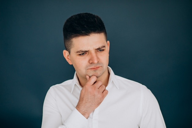 Man isolated showing facial emotions