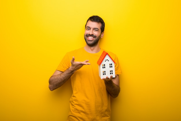 Man on isolated vibrant yellow color