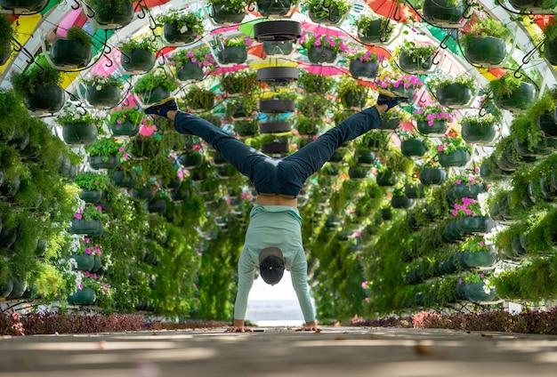 남자는 corniche 역의 화려한 꽃과 우산 아치에서 손에 균형을 유지합니다. 카타르 도하. 건강과 힘의 개념.