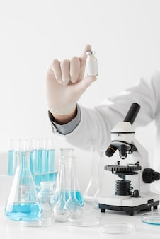 Man in lab doing experiments close up