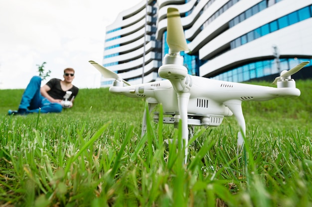 Man launches drone outdoors