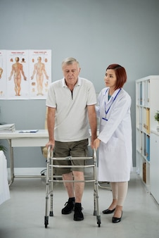 Man learning how to walk again