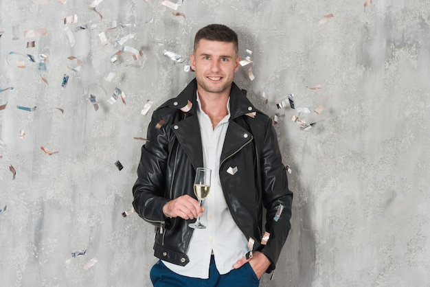Manin leather jacket with champagne