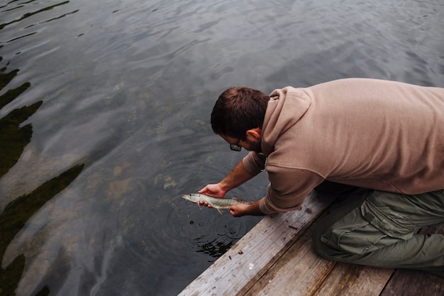 Man leaving freshly caught fish in the lake