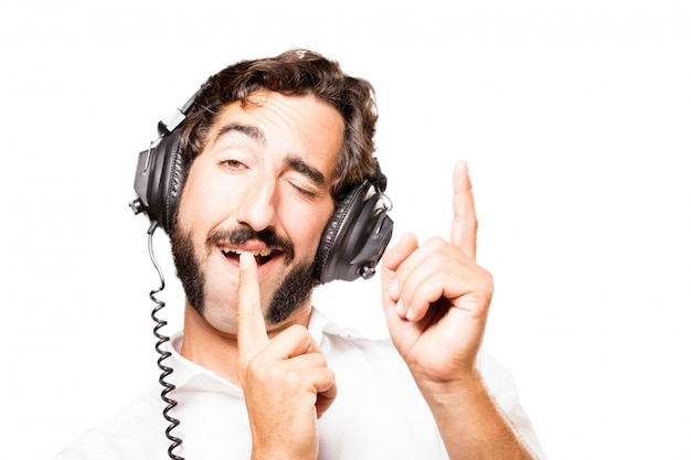 Man listening to music with headphones black