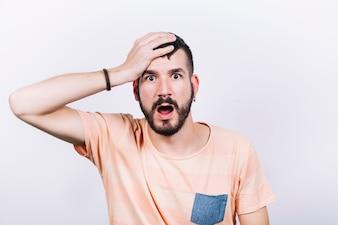 Man looking at camera in disbelief