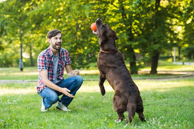 Man looking at his dog holding ball in mouth