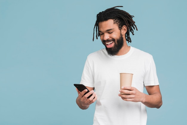 Man looking on his smartphone