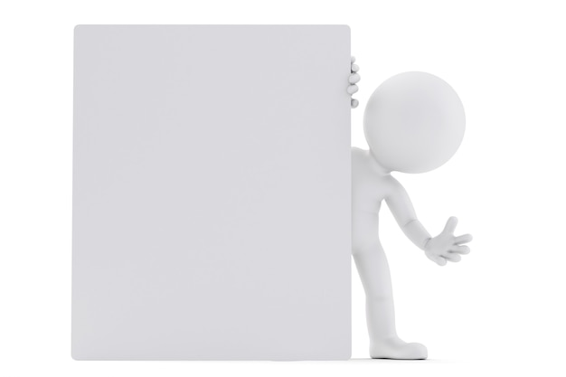 Man looking out from behind the blank board. 3d illustration. isolated. contains clipping path