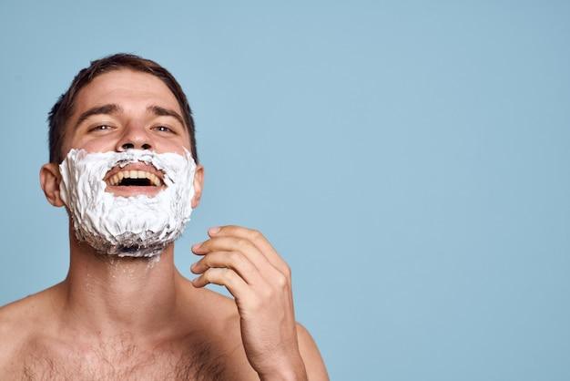 Man makes cosmetic fabric masks, facial skin care at home