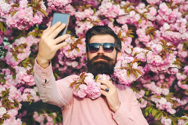 Man making selfie with mobile phone. spring day. spring pink sakura blossom. spring pink blossom. bearded man wears pink shirt.