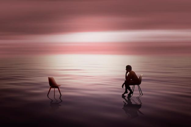 瞑想し、意思決定について考える人