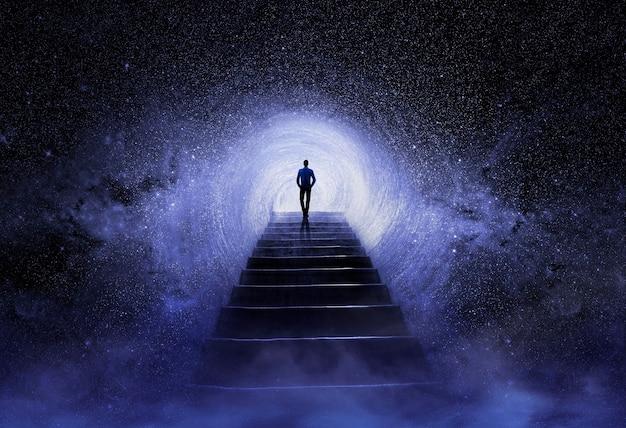 宇宙で瞑想する男