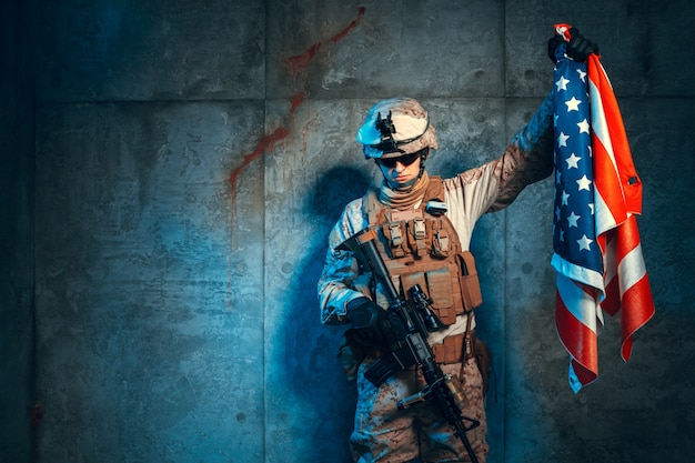 Man military outfit a mercenary soldier in modern times with us flag