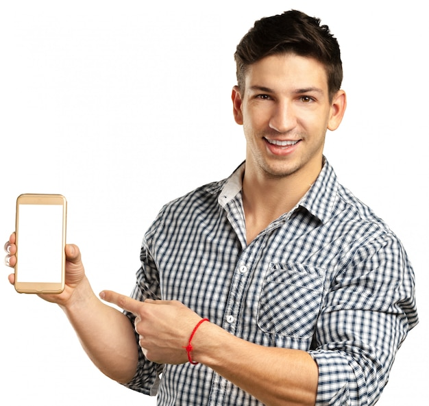 Man and mobile phone isolated on white