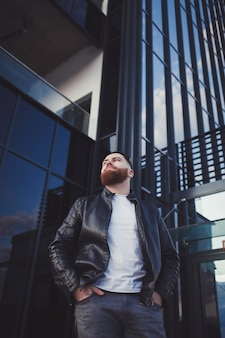 Man model wearing leather jacket