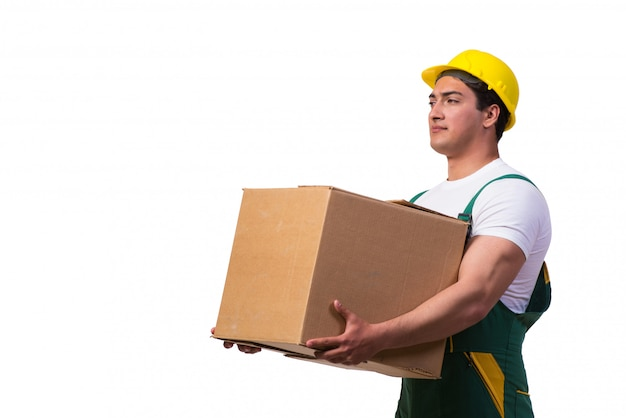 Man moving boxes isolated
