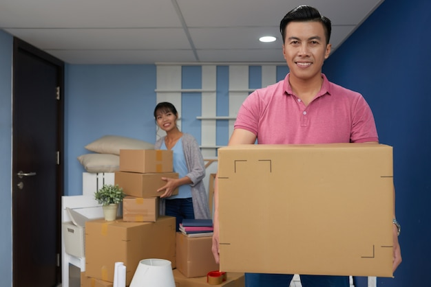 Man moving in new home