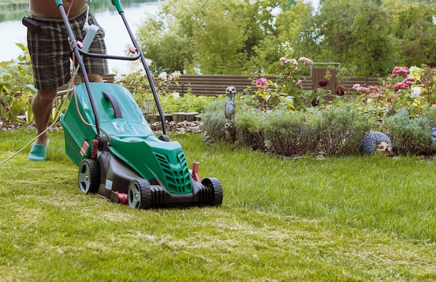 Man mows a lawn mower with a green lawn in his own garden near a flower garden in summer.