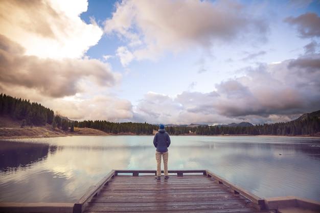 山の湖の男