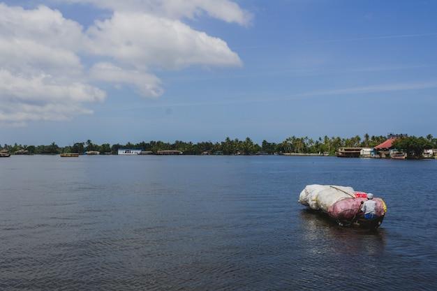 プラスチック製の木製カヌーを漕ぐ男