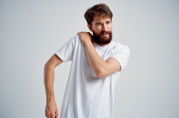 Man pain in the neck health problems massage therapy isolated background