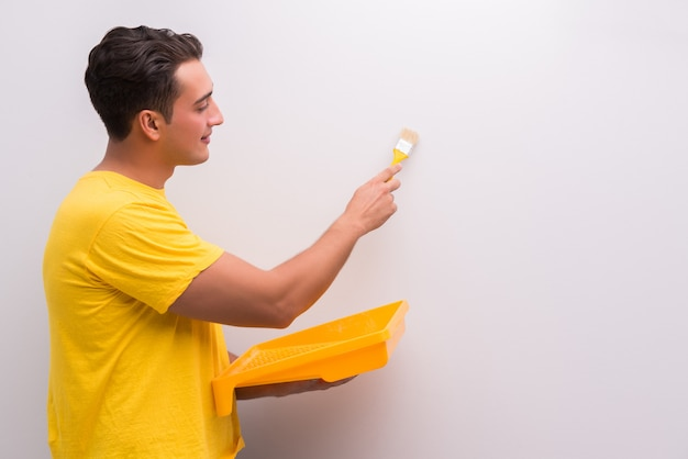 Man painting house in diy concept