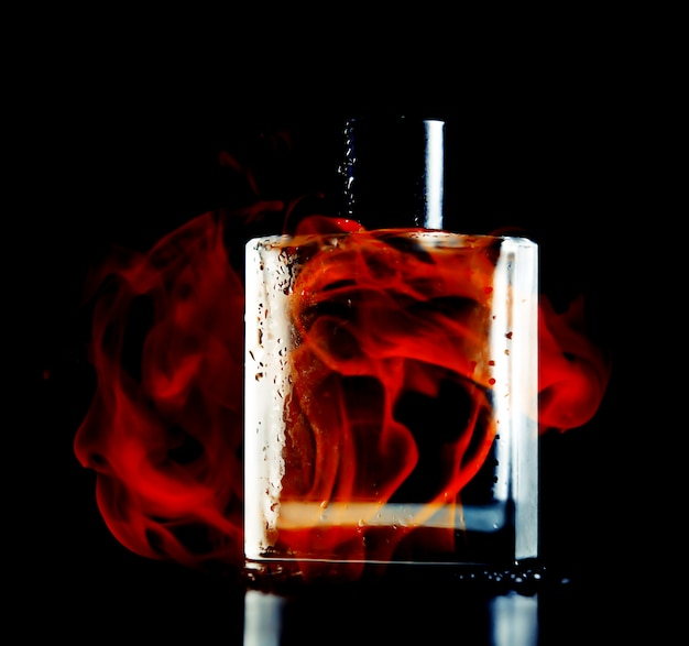 Man perfume on black background