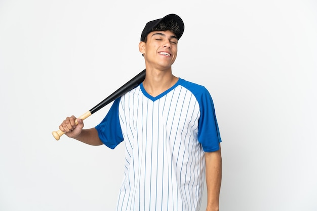 Man playing baseball over isolated white background laughing