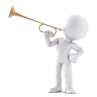 トランペットを演奏する男。 3dイラスト。孤立。クリッピングパスが含まれています