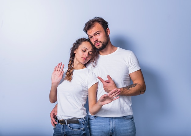 Man pointing finger at woman