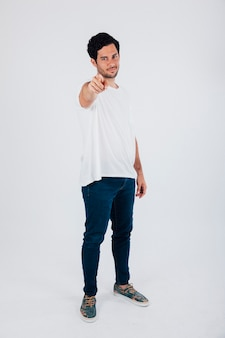 Man pointing to his front
