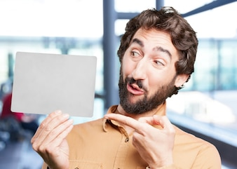 Man pointing on empty card in hand.