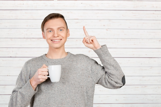 Man pointing with finger copy space