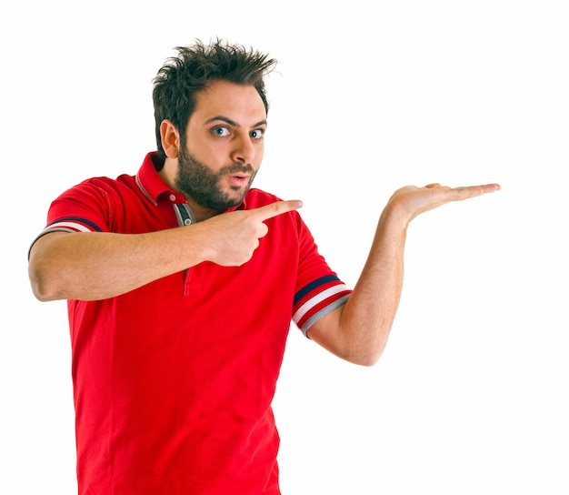 Man pointing with red t-shirt