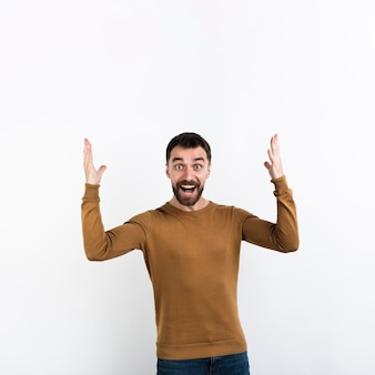 Man posing and throwing a fit