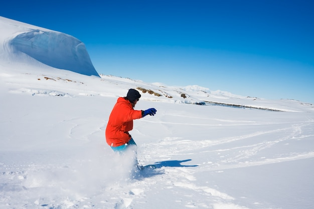 Man practicing winter sport