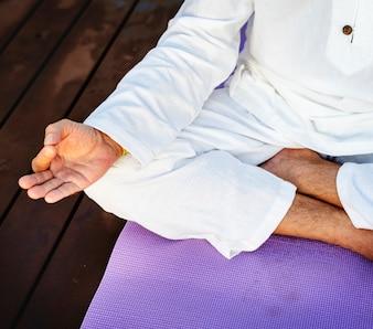 Man practising yoga